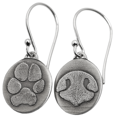 KeepSake Jewelry - 3561B_Oval_earrings_paw_nose.png - brand name designer jewelry in Woodland, California