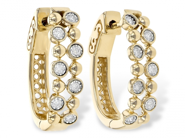 Lady's Two Tone 14 Karat Double Row Oval Hinged Hoop Earrings Made Up Of 7 Round Diamonds Set In Illusion Heads In The Appearance Of A Bezel In A Staggered Pattern With Polished Beads In Between. Valt Lock Backs.