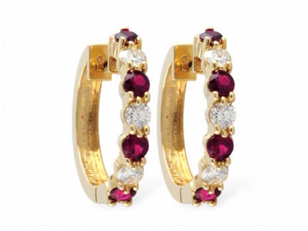 Ruby and Diamond Hoops by Allison-Kaufman