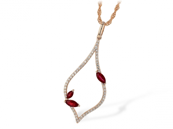 Rosé 14 Karat Oblong Marquise Frame Pendant, Lined In Bead Set Round Brilliant Cut Diamonds, Accented By The Three Marquise Cut Rubies, Two Set Toward The Bottom Of One Side And A Single Cut Ruby Set Toward The Opposite Side Near The Top.