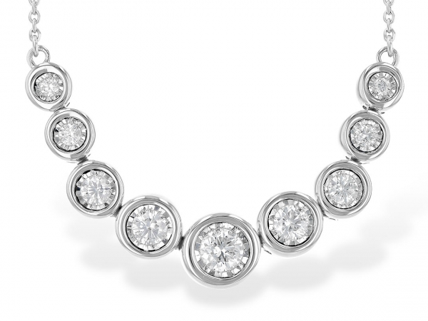 Lady's White 14 Karat  Nine Graduated Diamond Necklace, With Each Round Diamond prong set Set In A larger  illusion plate That Give The Appearance Of bezel setting.  Each bezel is hinged.  Chain attaches to the smaller bezel on either end.  Suspended From A Cable Link Chain.