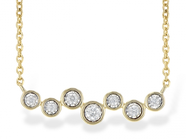 Lady's Yellow 14 Karat Bar Necklace With The Bar Shape Formed By Staggering Round Brilliant Cut Diamond Illusion Set, In An Individual Bezel Design, Suspended From A Cable Link Chain.