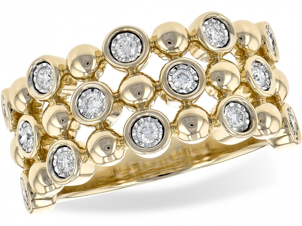 "Lady's Yellow 14 Karat ""Bubble Collection Ring"" With Three Rows Of Alternating Polished Solid Bubbles And Round Brilliant Cut Diamonds Set In White Gold Illusion Heads. Ring Measures Approx. 9Mm Across The Top Of The Ring And Tapers Down To Approx. 3Mm Across The Bottom."