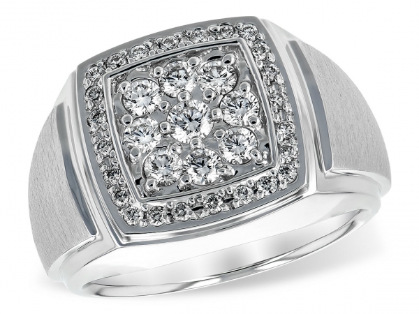 Lady's White 14 Karat 1cttw Cluster Ring With 9 Round Diamonds In Shared Prong Heads Forming A Square With A Smaller Diamond Lined Halo Making An Approx 15.5Mm Top With Raised Tapered Satin Sides