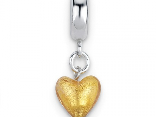 Lady's White Sterling Silver Reflection Charm, Polished Sliding Charm With Dangling Murano Glass Yellow Heart Charm