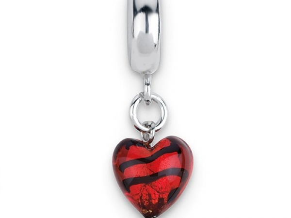 Lady's White Sterling Silver Red With Black Stripes Heart Shaped Murano Glass Dangle Reflection Bead Bead