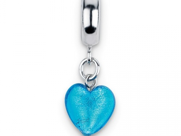 Silver Charms Style=Reflection Charm, Polished Sliding Charm with Dangling Glass Blue Heart Metal=Sterling Silver Color=White Finish=Polished